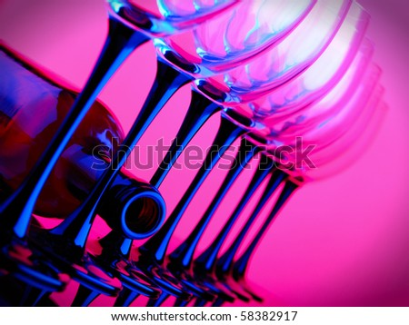 abstract wine bottle and glass - stock photo