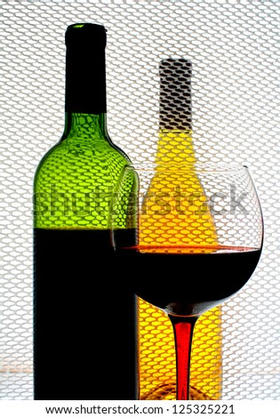 Abstract wine  glassware background design made from  wine glass and bottle - stock photo