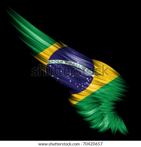 Abstract wing with Brazil flag on black background - stock photo