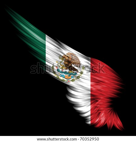 Abstract wing with Mexico flag on black background - stock photo