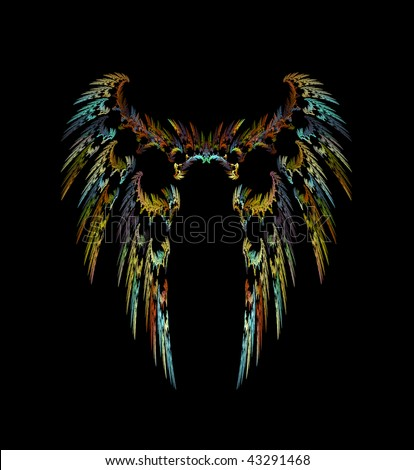 Abstract Wings of a Dark Angel or Mythical Bird of Prey over black - stock photo