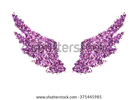 Abstract wings of purple glitter on white background - interesting and beautiful element for your design - stock photo
