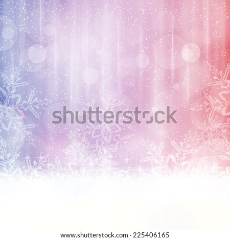 Abstract winter background in shades of blue, red and purple tones. Light effects, snowfall big snow flakes give it a dreamy and festive winter Christmas feel. Space for your text. - stock photo