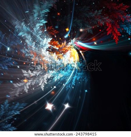 Abstract winter background with snow and stars. Frosty color pattern for creative design. Festive Christmas template with blurred effect for wallpaper desktop, poster, cover flyer. Fractal art - stock photo
