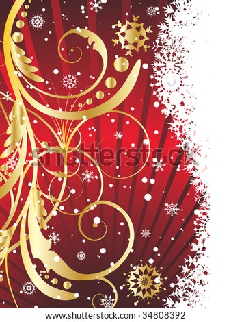 Abstract winter background with snowflakes frame. Vector illustration.