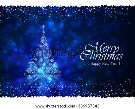 Abstract winter blue background with Christmas tree from snowflakes, illustration.  - stock photo