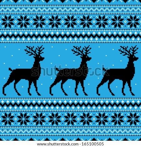 Abstract winter blue background with deer and snowflakes (raster illustration)