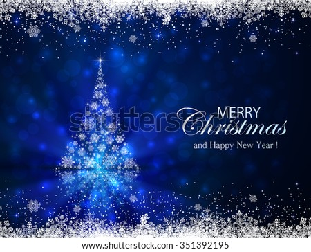 Abstract winter blue background with frame and Christmas tree from snowflakes, illustration.  - stock photo