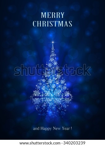 Abstract winter blue background with shiny Christmas tree from snowflakes and stars, illustration.  - stock photo