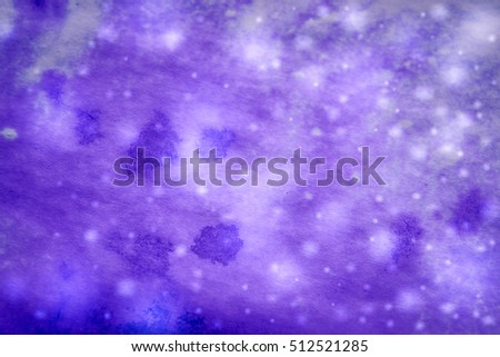 Abstract winter blue background with snowflakes. winter background purple ink drips and snowflakes. Purple ink spreads create a frost on a white surface. Abstract base basis background backdrop