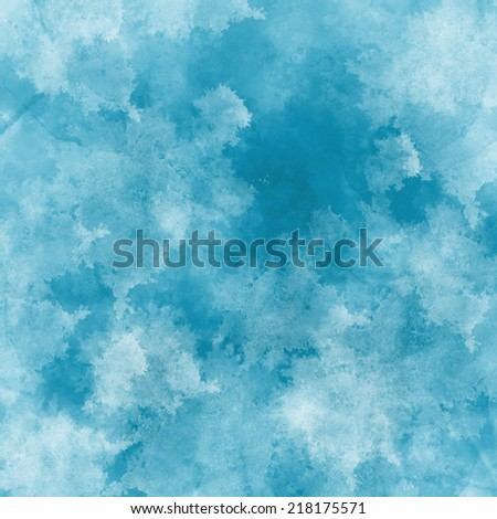 Abstract winter blue background with watercolor splashes and swashes - stock photo