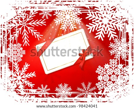 Abstract winter grunge frame with glow and card - stock photo