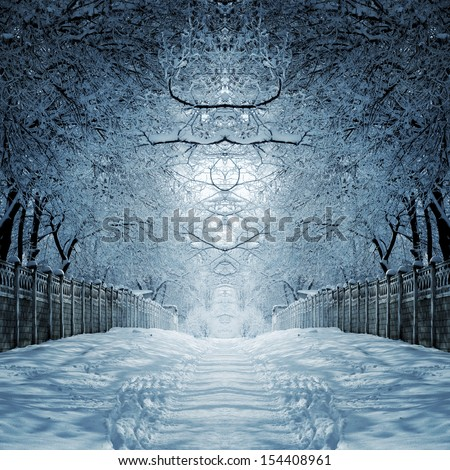 abstract winter landscape - stock photo