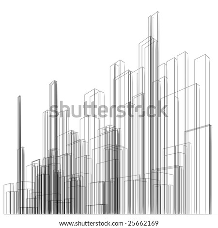 Abstract wireframe at white background - stock photo
