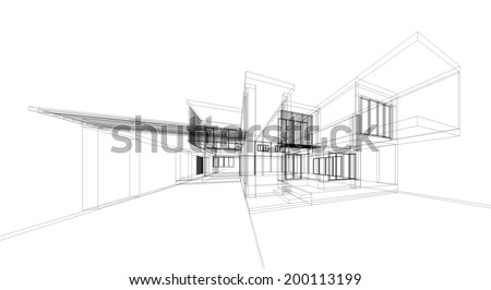 Abstract wireframe building. 3d render  - stock photo