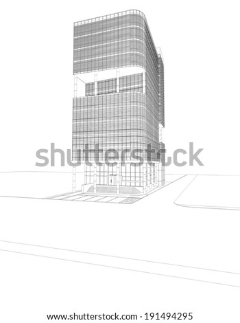 Abstract wireframe of 3D building