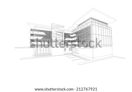 Abstract wireframe of 3D building - stock photo