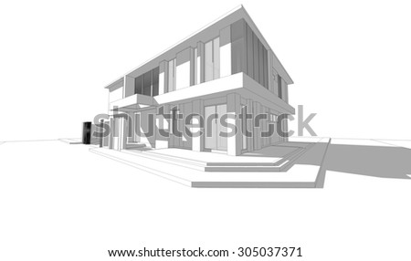 Abstract wireframe perspective of 3D building with shade and shadow. 3D rendering of house. - stock photo