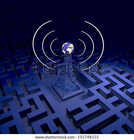 Abstract wireless background, network station - stock photo