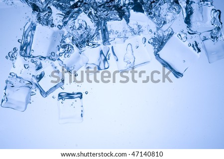 Abstract with blue ice. Creative splashing water