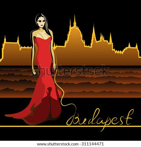 Abstract woman in Budapest on the Danube (poster or card) - stock photo