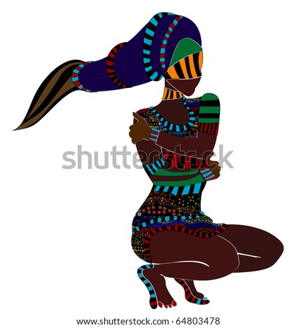 abstract woman in ethnic style of the various elements on a white background (raster version) - stock photo