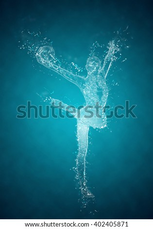 Abstract woman rhythmic gymnast in action. Crystal ice effect - stock photo