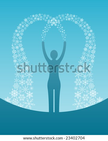 abstract woman silhouette with stream of snowflakes