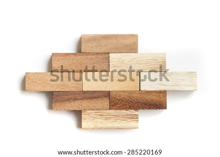 Abstract wood block toy. - stock photo