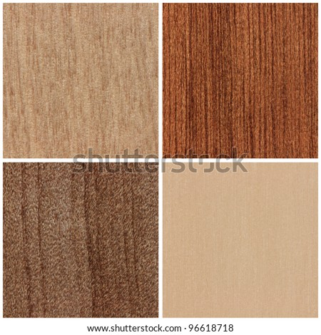 Abstract wood textures of native timber from New Zealand (Species from ul to lr: miro, kohekohe, tawhai, kahikatea) - stock photo