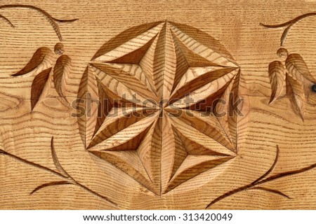 abstract wooden flower - stock photo