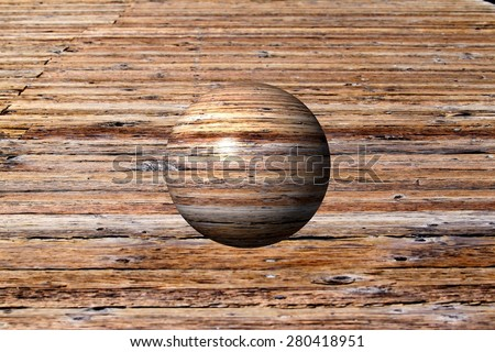 Abstract wooden globe with a wood background. - stock photo