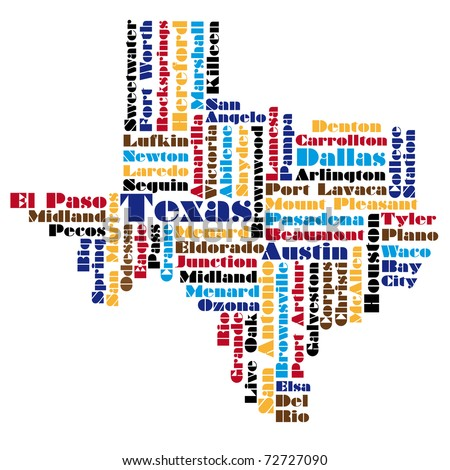Vector Map Texas State Usa Stock Vector Shutterstock - Map of texas usa