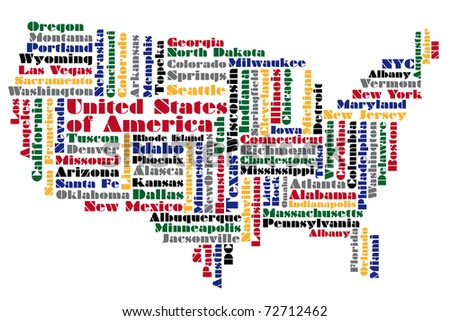 abstract word cloud based map of USA - stock photo