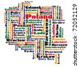 abstract word cloud map of poland - stock vector