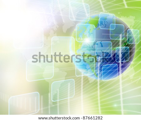 abstract world and technology background - stock photo