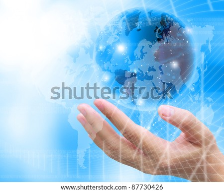 abstract world and women hand holding
