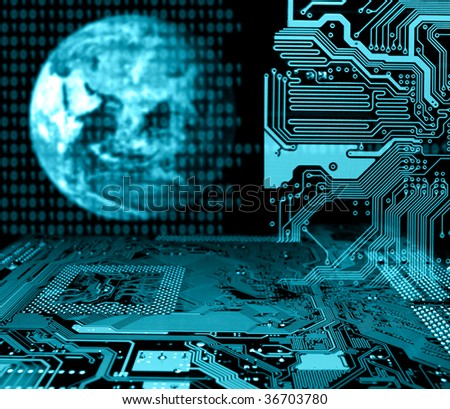 abstract world global connection concept - stock photo