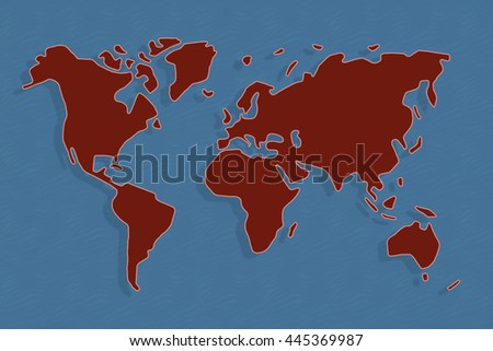 Abstract World Map Red Blue Color Stock Illustration - World map in blue color