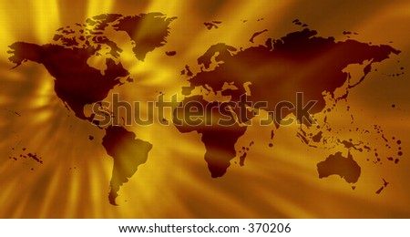 abstract world map in yellow with highlights - stock photo