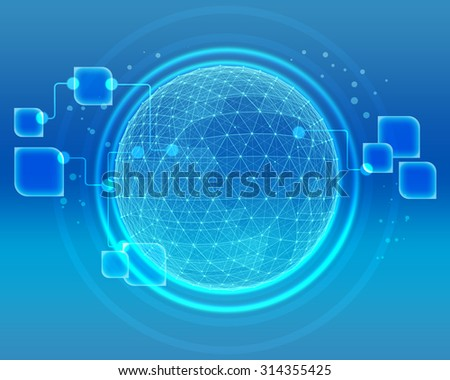 Abstract world map of the global telecommunications network. - stock photo
