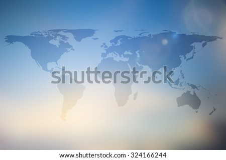 Abstract world map on blur blue stock illustration 324166244 abstract world map on blur blue yellow cream gradient color background gumiabroncs Gallery