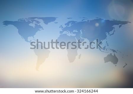 Abstract World Map On Blur Blue Stock Illustration - World map screen wallpaper