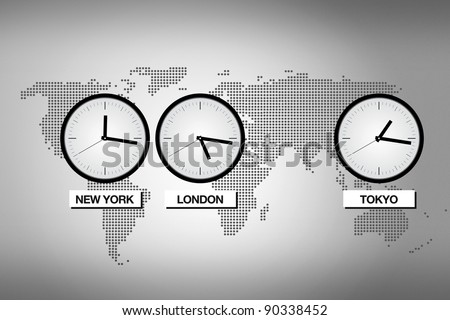 Abstract world map with clocks representing different time zones in big cities like Tokyo, London and NEw York.