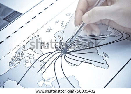 Abstract world map with continent points and lines - stock photo