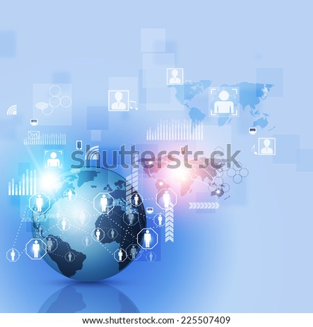 abstract world network business connection blue background - stock photo