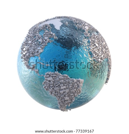 Abstract world of the near future. No space for nature. Isolated on white. - stock photo