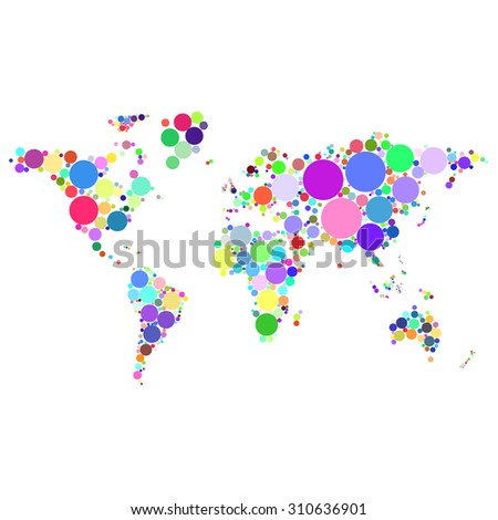 abstract worldmap colorful dots isolated on white background illustration
