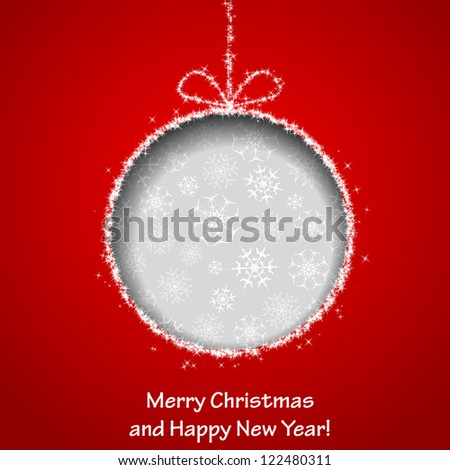Abstract Xmas greeting card with Christmas ball cutted from red paper background. Raster copy of vector illustration - stock photo