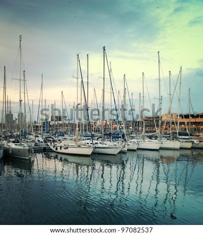 abstract yachts at port of Barcelona, Spain - stock photo